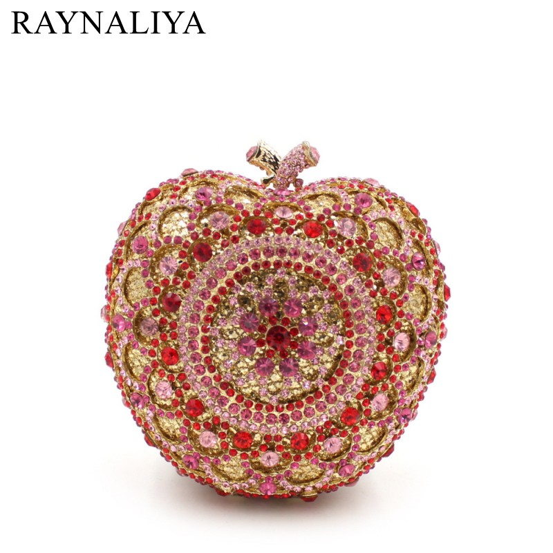 2017 New Hot Sale For Apple-shape Clutch Purse Luxury Crystal Bags Party Coin Ladies Wedding Evening Women Handbag Smyzh-e0062 as16 9 rose top fashion luxury diamond african handbag purse for party wedding