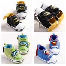 Baby Shoes Girl Infant Toddler Cute Cartoon Superman Batman Canvas First Walkers Shoes Unisex Boy Girl Crib Babe Soft Soled Shoe(China)
