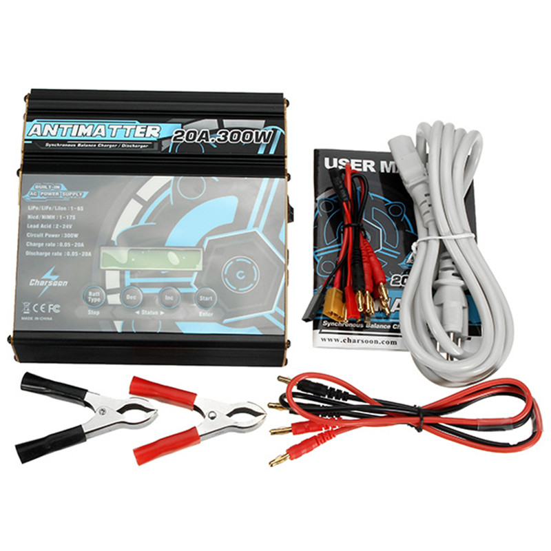 Charsoon Antimatter 300W 20A Built-in AC DC Synchronous Balance Charger For Lipo/Lilo/LiFe/Ni-Cd/NiMH/Pb Battery RC Toys Accs 1s 2s 3s 4s 5s 6s 7s 8s lipo battery balance connector for rc model battery esc