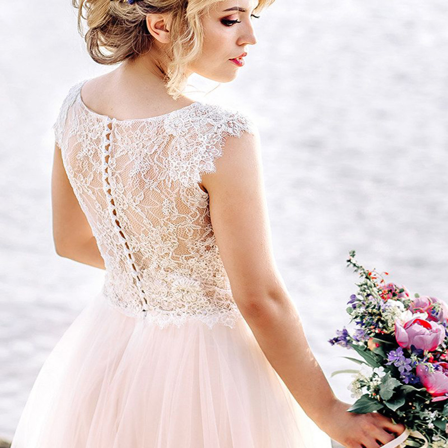 SOFUGE Scoop Neck Cap Sleeve See through Lace Back Buttons Wedding Dress 2019 Boho Vestido De Noiva in Wedding Dresses from Weddings Events