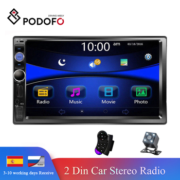 "Podofo Auto Radio 2 din Car Multimedia Player 7"" Touch Screen Autoradio 2din Stereo Support Rear View Camera Mirrorlink Android"
