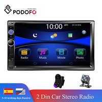 Podofo rádio automático 2 din player multimídia do carro 7 tela de toque autoradio 2din suporte estéreo câmera visão traseira mirrorlink android