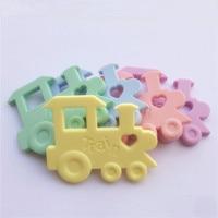 Chenkai 5PCS BPA Free DIY Silicone Train Teether Pendant Nursing Baby Shower Pacifier Dummy Sensory Toy