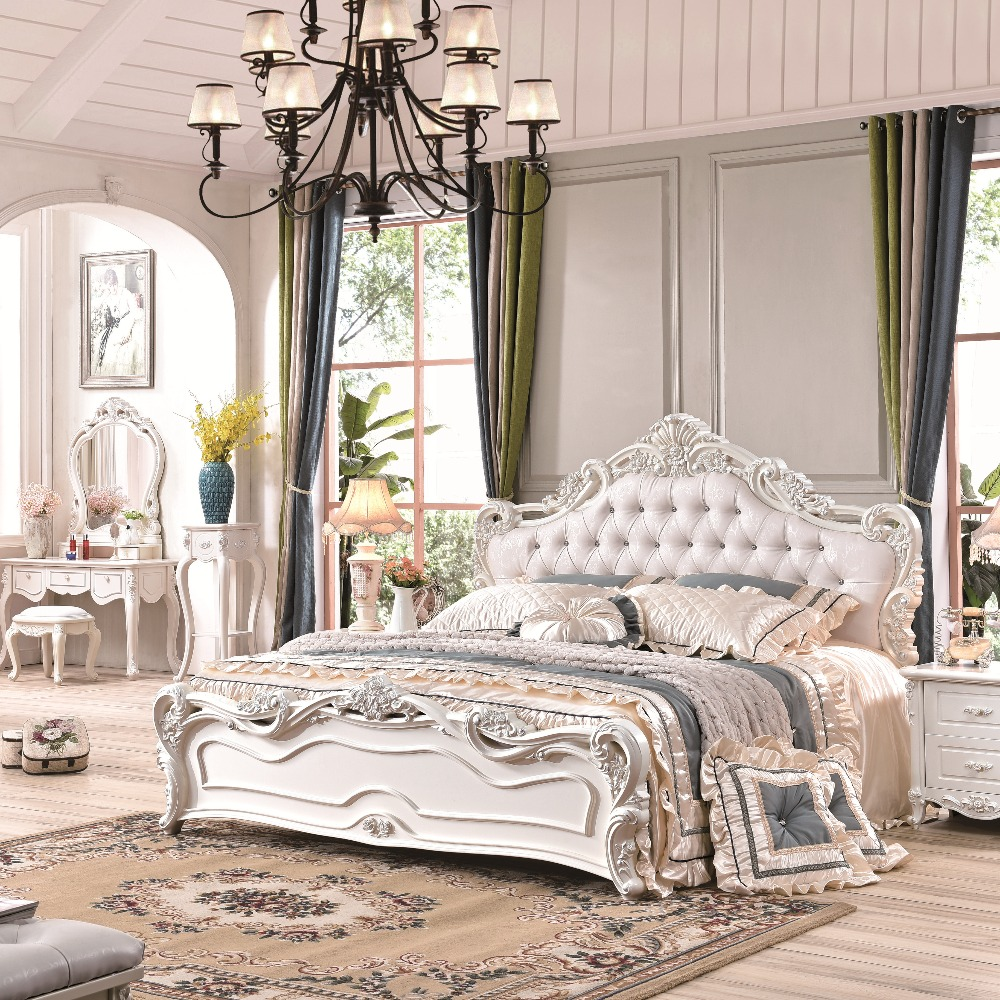 Antique Style White King Size Bedroom Furniture-in Bedroom