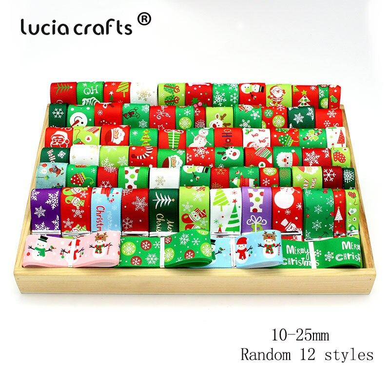 "12yards 3/8"" 10mm /6-25mm White,Green,Red Random 12styles Printing Grosgrain Satin Ribbons Christmas Decoration S0204"