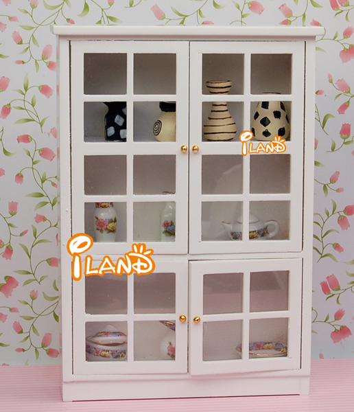 112 Dollhouse Miniature Furniture Kitchen Dining Room Cabinet Display Shelf White WD0055
