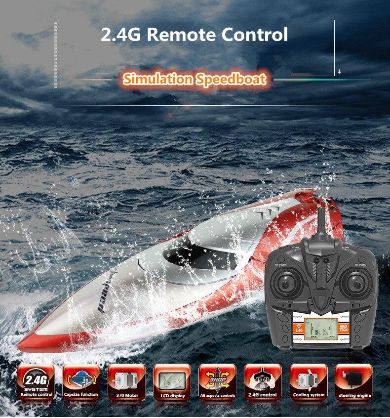 2018 nouveau H-106 RC bateau modèle brosse moteur bateau jouet 180 degrés flip haute hors-bord avec 150 m écran LED télécommande vs FT009