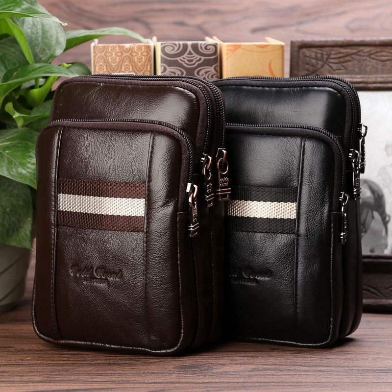 Fashion YIANG Brand Men Genuine Leather Single Cross body Phones Bags Business Casual Waist Packs Male Shoulder Messenger Bags 100% genuine leather small business men messenger bags cowhide travel shoulder bags for men cross body chest packs 2016