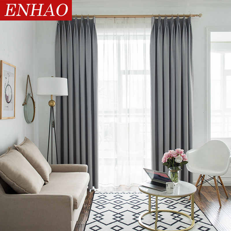 ENHAO Modern Solid Blackout Curtains for Living Room Bedroom Kitchen Curtains for Window Blackout Curtains Drapes Blinds Panel