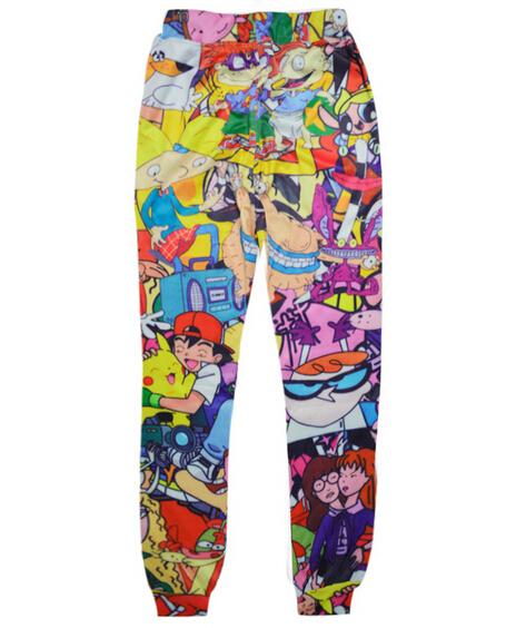 Clássico 90 s calças corredores Dos Desenhos Animados 3D moletom impressão mulheres/homens harajuku calças Desenhos Animados calças pantalones Frete grátis