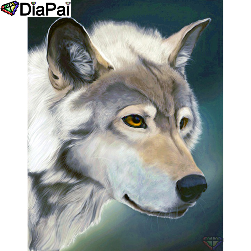 DIAPAI Diy Full Square Round Drill 5D Diamond Painting Cross Stitch Diamond Embroidery quot Animal wolf quot Home Decor Gift A25374 in Diamond Painting Cross Stitch from Home amp Garden