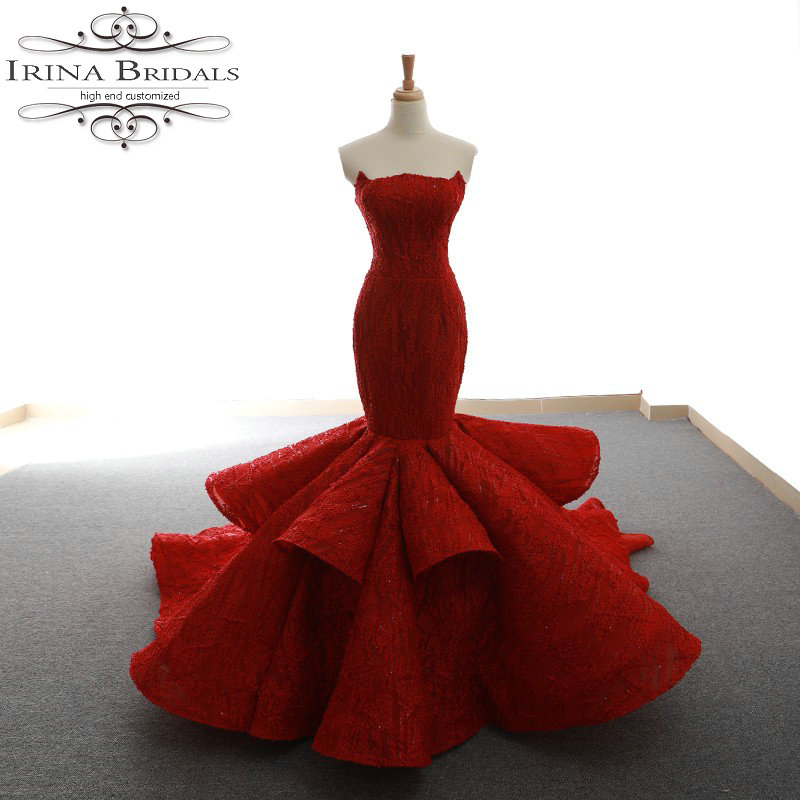 robe mariage Strapless Lace Pleated Mermaid Red Wedding Dress