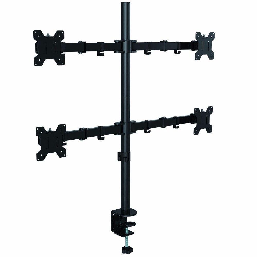 Suptek Quad Arm ЖК светодиодный монитор Стенд кронштейн, монтируемый в стол сверхмощный полностью регулируемый подходит 4/Четыре экрана до 27 MD6884