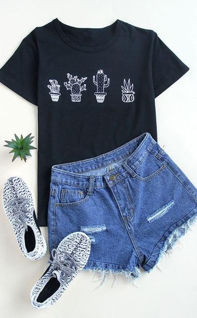 8d595b69373 Plant CACTUS t shirt Unisex graphic tee tumblr t-shirt woman short sleeve  crewneck shirts