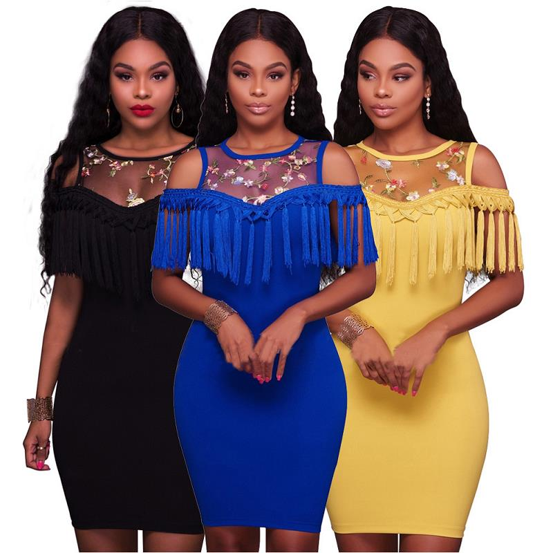 Tassel Flower Embroidery Bodycon Dress for Women Mesh Patchwork Formal Party Knee Length Dresses Female Cocktail Club Dress