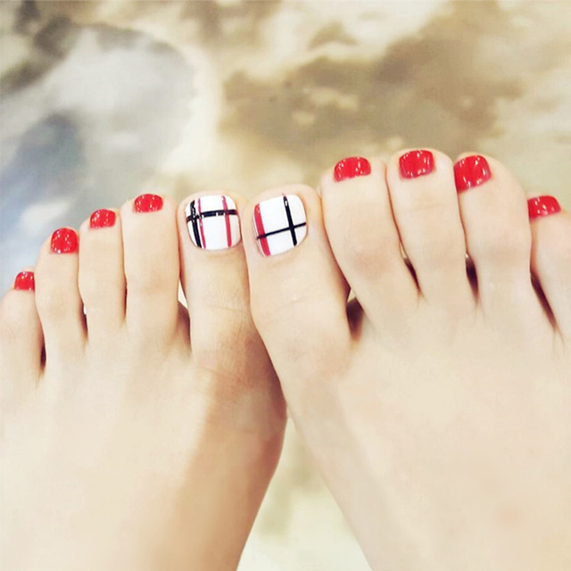 24pcs/Set Summer Cute Girls Toes Nail Art Decoration Black Red Line ...