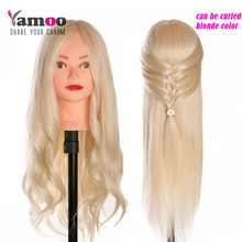 Free Shipping Mannequin Dummy Manequin Cosmetology Mannequin Heads 40% Blonde Human Hair high temperature Head With Human Hair