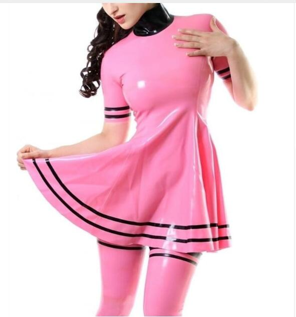 Handmade  Pink Latex Rubber Dress High Quality Latex Skrits Back Zip Short Sleeves Without Stockings