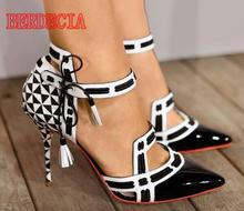 White/Black Leather Ankle High Heels Party Shoes
