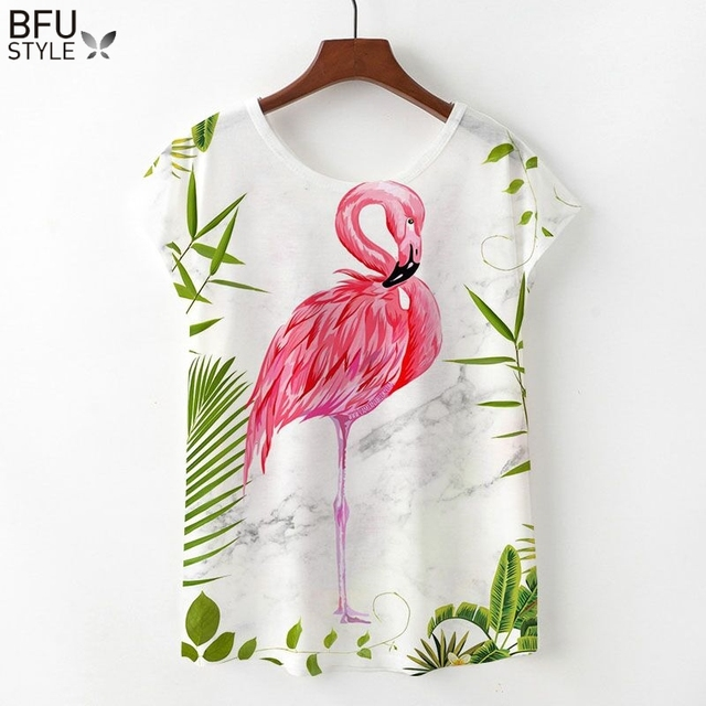 c801d117 2019 Flamingos T-shirts Women Summer Kawaii Clothing Loose Short Sleeve Top  Harajuku Unicorn T