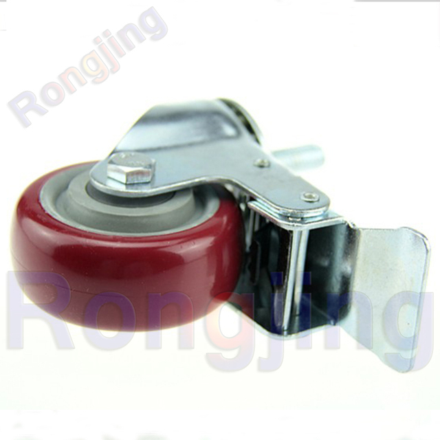 New 3'' Furniture Swivel Caster M12 PU Wear-resisting 360 Degree Rolling Wheel Palted With Double Bearing&Brake Castors