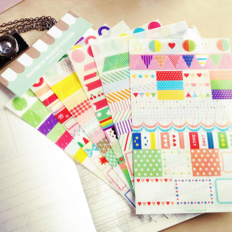 Diy Rainbow Calendar : Sheets set simple life rainbow colored paper sticker diy