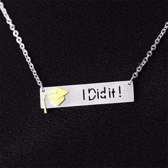 "Graduation ""I Did It"" Pendant with Slim Chain"
