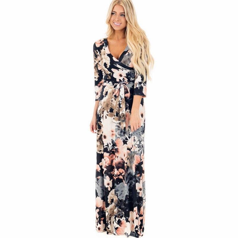 New Long Maxi Dress Women Summer Floral Print Beach Dress Sexy Deep V-neck Bodycon Evening Party Dress Vestidos Largos Mujer