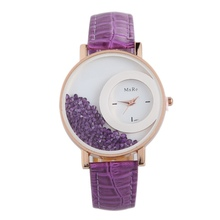 7 Colors Women's Watches Moving Quicksand Rhinestone Ladies Watch Women Faux Leather Clock Relogio Feminino Montre Femme