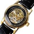 De lujo de la Marca MG. ORKINA Negro y Oro Steampunk Esqueleto Auto-viento Reloj Mecánico Con Correa de Cuero Genuino Negro Para Los Hombres