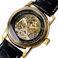 Luxury Brand MG. ORKINA Black & Golden Skeleton Steampunk Self-wind Mechanical Watch With Black Genuine Leather Strap For Men