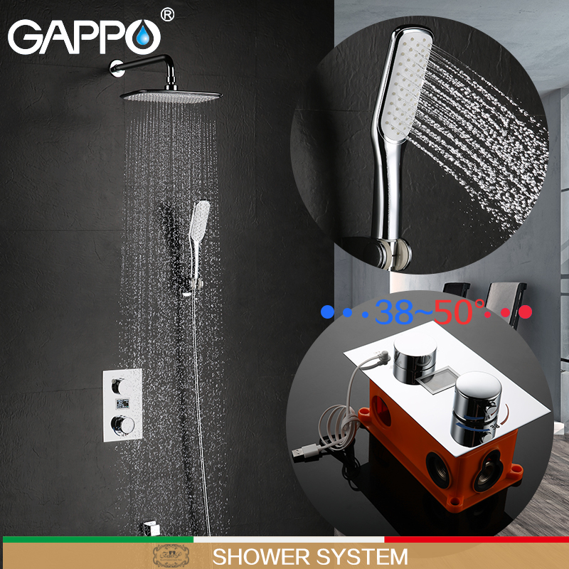 GAPPO shower faucets bathtub mixer thermostatic faucet shower bathroom shower faucet thermostatic shower system everso bathroom shower faucet thermostatic faucet dual handles thermostatic mixer valve bathtub faucets
