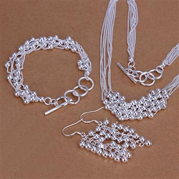 925 joyas de plata esterlina bolas colgante del collar y pulsera y pendientes de plata 3 Unidades CS137