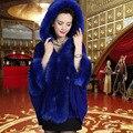 Женщины Кардиган С Капюшоном Мех Осень Зима Трикотажные Пончо Feminino Искусственного Люкс Свадебное Шаль Старинные Шерстяные Пальто Плащ