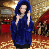 Women Cardigan Hooded Fur Autumn Winter Knitted Poncho Feminino Faux Bridal Wedding Shawl Vintage Wool Coats Cloak