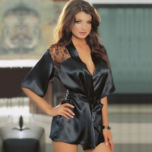 New Hot Sexy Black Women's Rose Flower Lace Satin Deep V Nightgown Sleepwear Lingerie Pajamas with T-back For Women Clothing