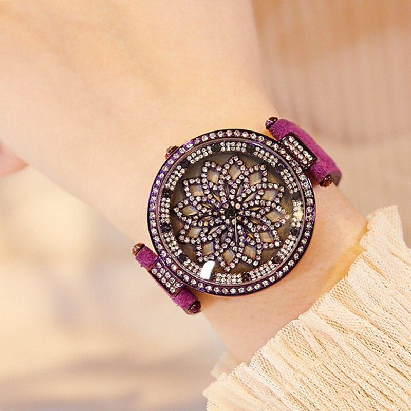 цена на New Ladies Watch Women Quartz watches Relogio Feminino Top Brand Luxury Rotating Dial Watch Leather Bracelet Waterproof Clock