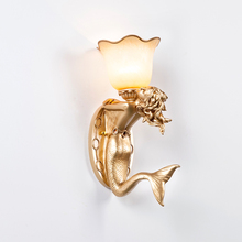 Art Deco Wall Lamps Mermaid Living Room Bedroom Bedside Wall Lights Modern  Creative Personality Background LED
