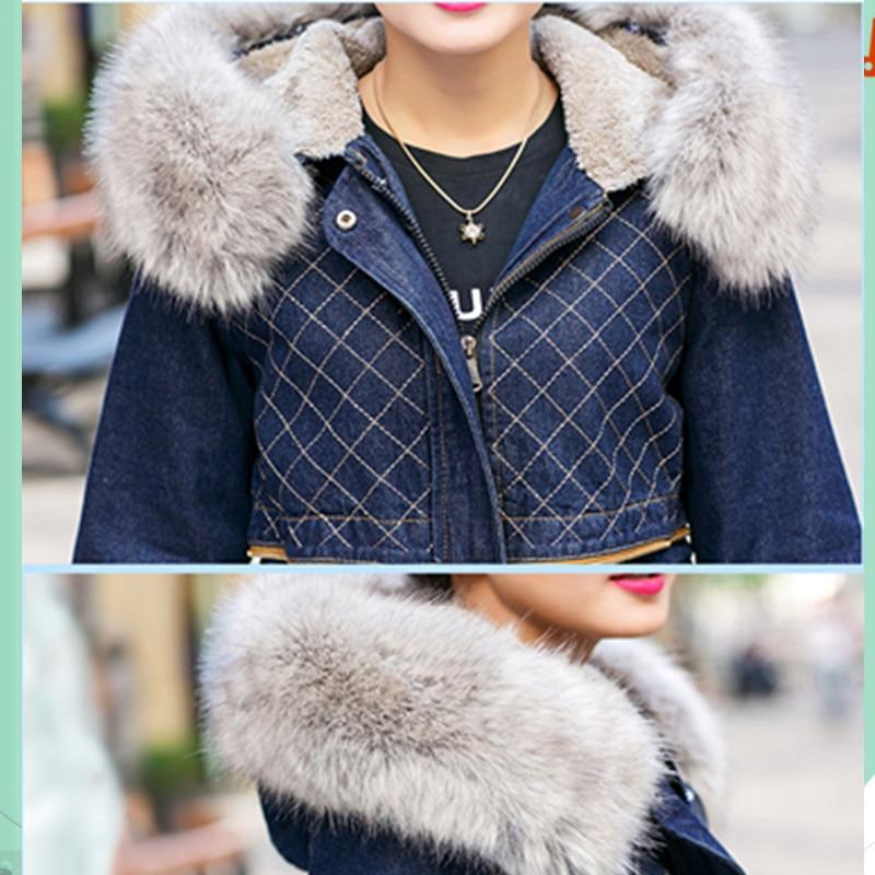 Décontracté Nouvelle À Capuche Parka Manteau Hiver Vêtements Mode Veste Femme Jean Manteaux Coton Bleu Outwear Femmes En UIxqwI0Hr