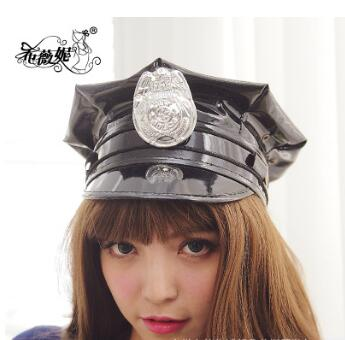 2021 black police hat cosplay police military hat uniform cap police uniform hat halloween party supplies