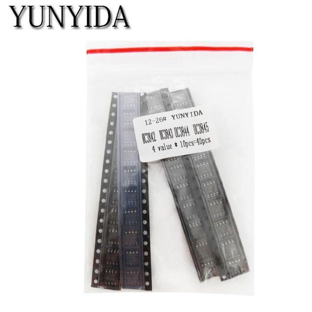 40pcs = 4 kinds * 10pcs UC3842 UC3843 UC3844 UC3845 sop Each 10pcs kit (12-26)