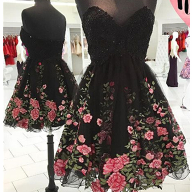 be080887bd4 Dresstells Black Strapless Embroidery Flowers Tulle Short Prom Dress  Homecoming Dress Cocktail Dress Plus Size Custom Made