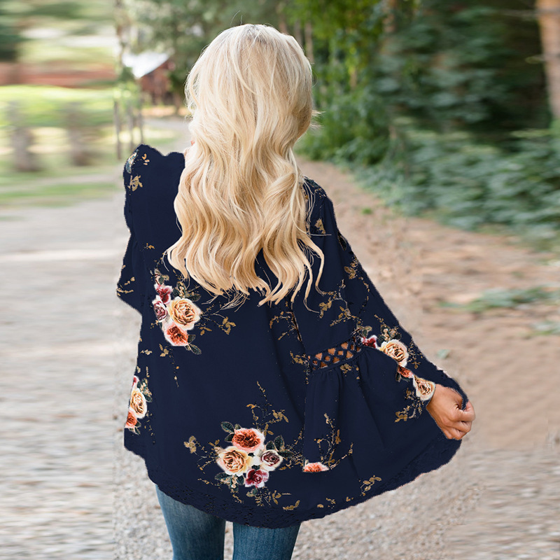 HTB12I06EaSWBuNjSsrbq6y0mVXa8 Women Plus Size Loose Casual Basic Jackets Female 2018 Autumn Long Flare Sleeve Floral Print Outwear Coat Open Stitch Clothing