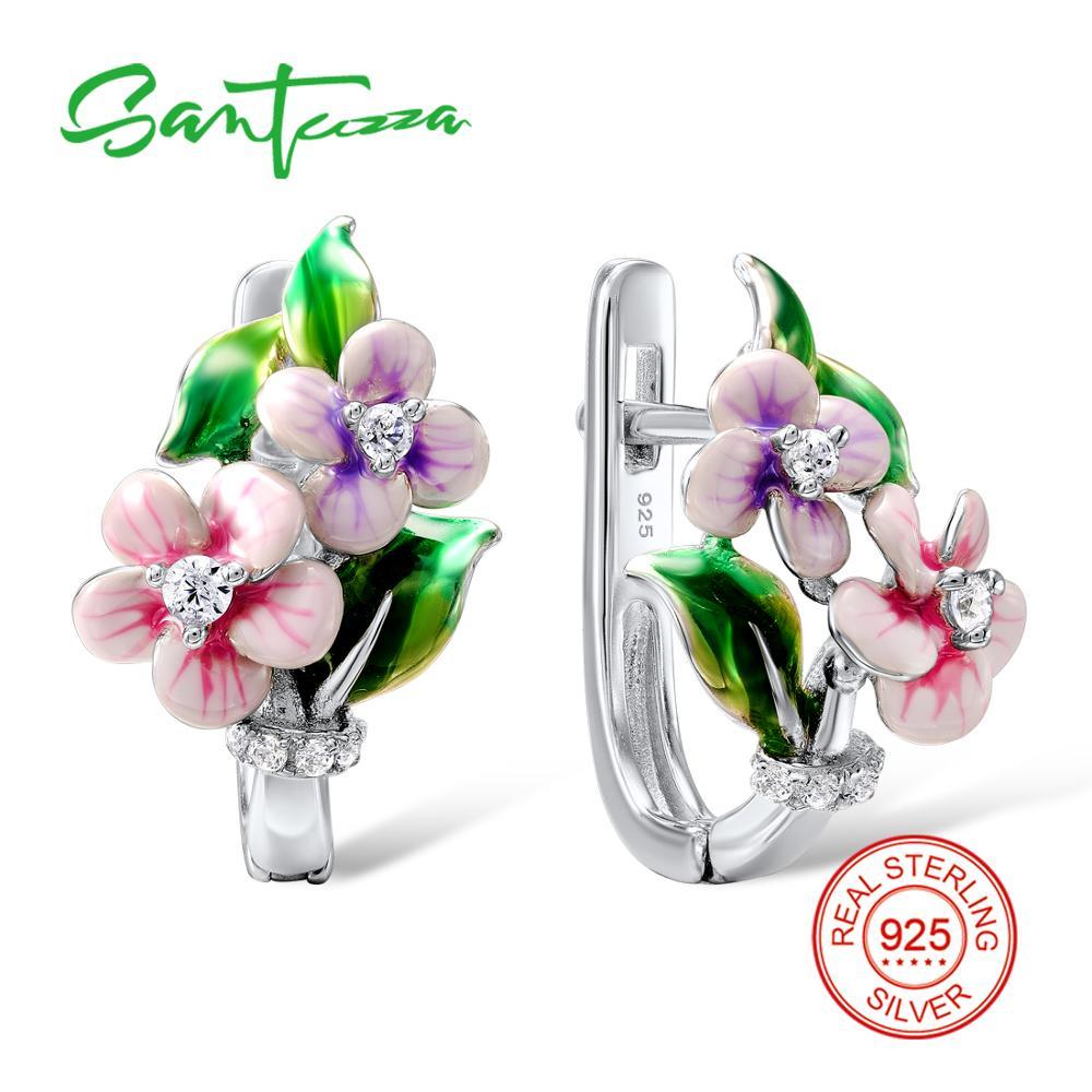 SANTUZZA Silver Pink Flower Earrings For Women 925 Sterling Silver Earrings Silver Shiny Cubic Zirconia brincos Jewelry Enamelearrings forearrings for women 925earrings for women -