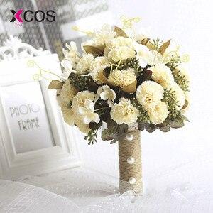 Image 3 - XCOS חדש סגול לבן חתונה זר בעבודת יד מלאכותי פרח רוז buque casamento כלה זר לחתונה קישוט