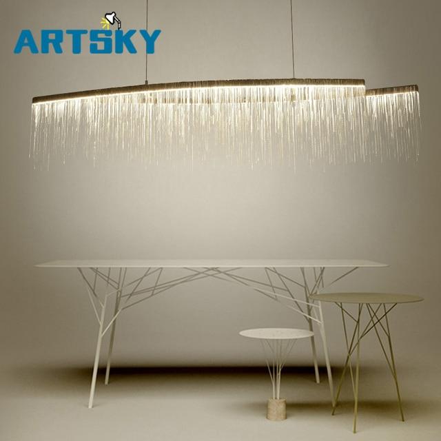 Moderne aluminium ketting meteorenregen led hanglamp voor hotel hal ...