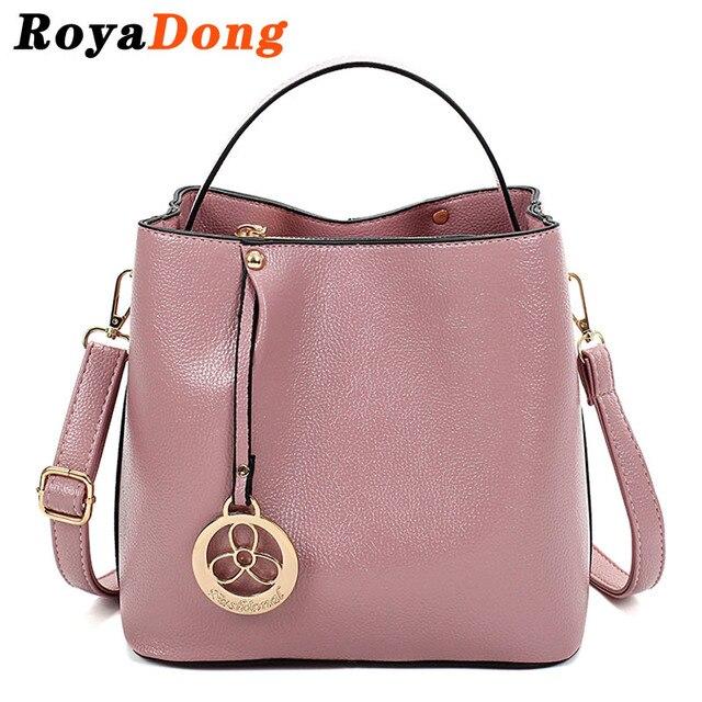 RoyaDong 2017 Women's Handbags High Quality Pu leather Designer Bucket Tote Bags Crossbody Bags For Women Bag