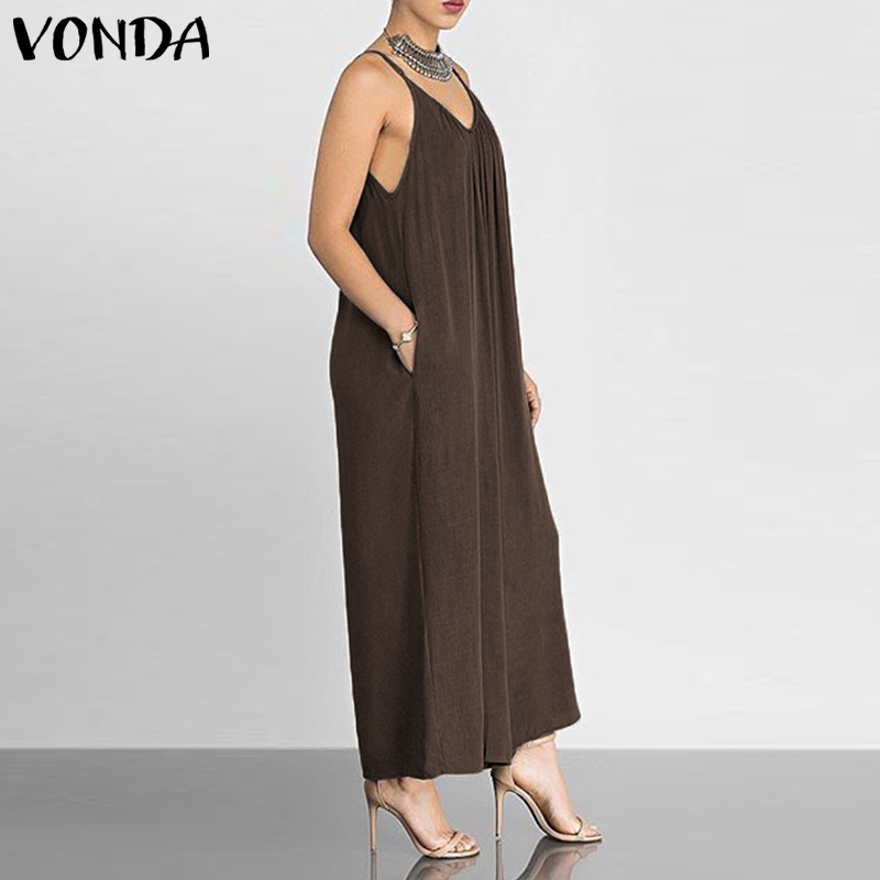 a017d32f63 VONDA Rompers Womens Jumpsuits Sexy V Neck Sleeveless Wide Leg Pants ...