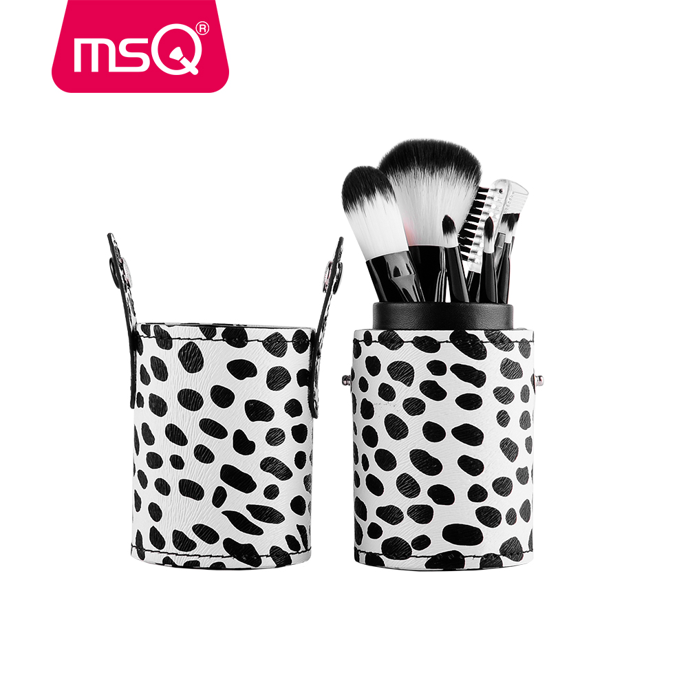 MSQ Milky Mini 8pcs Travel Makeup Brushes Set Soft Synthetic Hair Foundation Powder Blush Eyeliner Tool With PU Leather Cylinder msq professional 15pcs makeup brushes set soft synthetic hair natural wood handle with pu leather case for beauty fashion tool