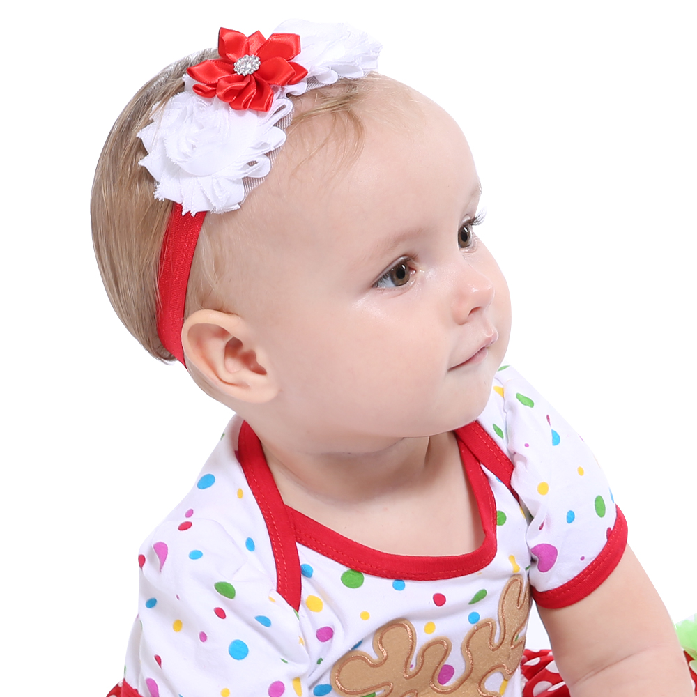 Red And White Flower Headband For Kids Christmas Hair Accessories